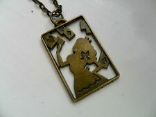 Lovely Alice in Wonderland Playing Cards Bronze Curb Chain Necklace