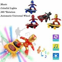 Electric Spiderman Scooter Skateboard Kids Toy With Light Music 360° Tumbler LZ