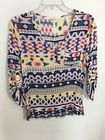 FUN 2 FUN Aztec Watercolor TOP BLOUSE 3/4 SLEEVES V Neck Medium