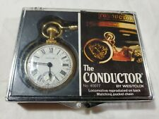 Vtg The Conductor Locomotive Westclox Wind Up Pocket Watch & Chain 40077 Works!