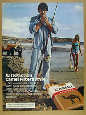 1980 orange jeep surf fishing photo Camel Cigarettes vintage print Ad