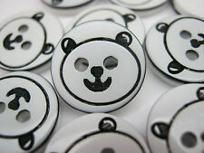 "10 Panda Bear Buttons 13mm (1/2"") Childrens Animal Baby Boy Sewing Buttons"