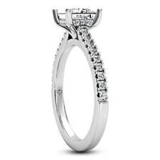 Solitaire 1.13 Carat Real Princess Diamond SI/E Engagement Ring 14K White Gold