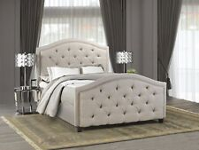 Candace & Basil Queen Bed Frame, Beige