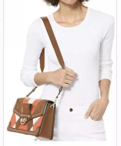NWT Michael Kors Jessie Brandy Multi Leather Large Flap Shoulderbag 30F9GI627L