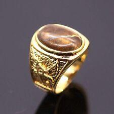 Random Carve Tigers Eye Stone Big Ring For Women/Men 24KGP  Fashion Ring Size 9