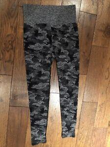 Ladies Leggings Grey Camouflage High Waist Thick Warm 12% Spandex