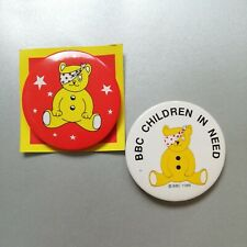 Vintage Pudsey Bear CHILDREN IN NEED Tin Pin Badges x 2 - Charity Sale