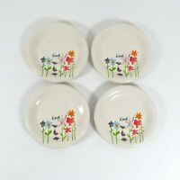 "Set of 4 Rae Dunn Small Plate Bloom Artisan Magenta Appetizer Plates Dessert 6"""