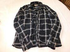Hollister California Women's Junior's blouse shirt top XS xsmall black plaid--