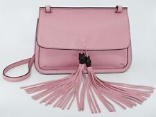 Gucci Women's Bamboo Daily Grain Leather Shoulder Bag, Carmine Rose, MSRP $1,990