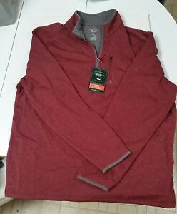new with tags Bass Melange 1/2 zip Red Fleece Pullover Sweater mens size XL