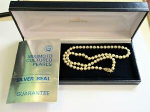 Vintage CULTURED PEARL NECKLACE with 9ct GOLD CLASP - MIKIMOTO BOX & PAPERS!