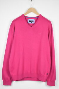 PAUL R SMITH Men's LARGE Bright Neon Pink V-Neck Pullover Sweater 37346_GS