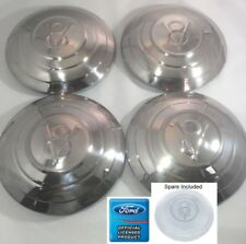 1932 Ford Car Set of 5 (4+Spare) Stainless Hubcaps V8 Logo 3 Raised Rings