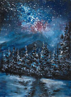 Galaxy stars Winter trees original ACEO landscape miniature painting art card