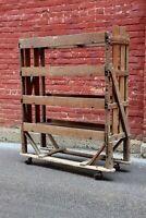 Antique factory Cart Bakers Rack Shoe Display wood shelf caster wheels storage