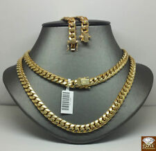 "10K Real Gold Miami cuban Chain 7mm 24"" Inch,Box/Lobster Clasp,Strong Link"