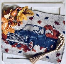 New Set of Four Blue Truck Fall Tapestry Placemats Harvest Pumpkins