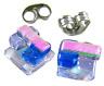 "Tiny DICHROIC EARRINGS Glass Post 1/4"" 10mm Cobalt Blue Lavender Pink Opal STUD"