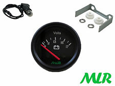 52MM BATTERIA VOLT GAUGE VOLTS BLACK FACE TRACK RACE Kit Car Classico Car MLR. Aul
