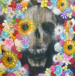 modern SKULL FLOWER PAINTING  ART PRINT STREET GRAFFITI