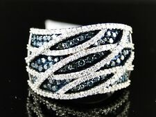 10K LADIES WOMENS WHITE GOLD BLUE ROUND CUT PAVE XL BAND DIAMOND RING 1.25 CT