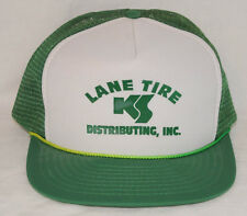 Vintage 1980s Lane Tire Distributing Nissin Advertising Snapback Trucker Hat Cap