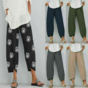 Womens Summer Ladies Cotton Linen Baggy Casual Harem Pants Trousers Plus Size UK
