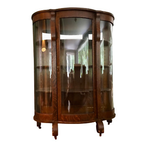 Antique American Bow Glass China Cabinet - Chittendon & Eastman