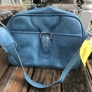 Aqua Blue Travel Bag Luggage Carry On Case Suitcase Vtg 60s 70s Shoulder Strap