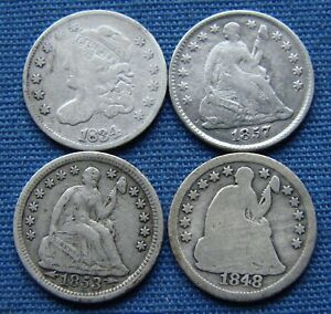*DECENT LOT OF 1834 CAPPED BUST & SEATED LIBERTY HALF DIME - ESTATE FRESH*