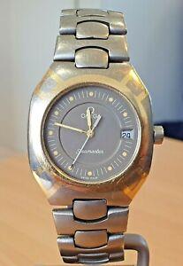 Omega Titanium & gold Seamaster Polaris brown dial Swiss 6 jewel quartz watch