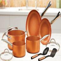 Heavy Duty Cooking Pan Set 10 Piece Chef NonStick Copper Coating Cookware Bronze