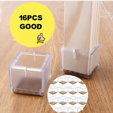 16PCS Square Chair Leg Caps Silicone Feet Pads Table Covers Wood Floor Protector