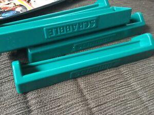 Set of 4 Scrabble racks 17cm long,green plastic VGUC Undamaged Surplus to need