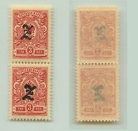 Armenia 1919 SC 92a mint black Type A vertical  pair . e9383