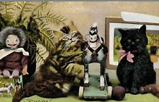 "Vintage Cat Postcard,2 Cats with Golly,Hobby Horse,Toys,""Play Time"",c.1909"