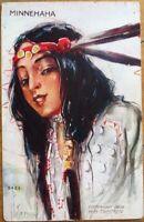 Native American 1909 Postcard: Minnehaha - Peterson/Artist-Signed - Tammen, Used