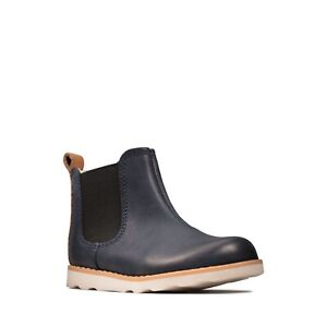 BNIB Clarks Toddler Crown Halo T Navy Leather Boots F Fitting