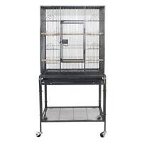 "53"" Large Parrot Bird Cage Bird Finch Feeder Stand Bird Lovers Metal Wheels"