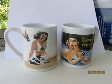 2 COCA COLA PIN-UP GIRL MUGS -MADE BY GIBSON-Father's Day