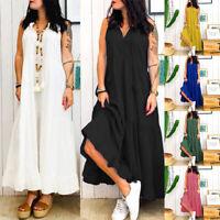 ZANZEA 8-24 Women Long Maxi Sundress Tiered Layered Flare Beach Club Party Dress