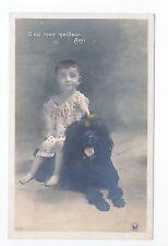 Animal CHIEN Chiens DOG dogs 28 carte fantaisie caniche royal noir et enfant