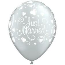 "JUST MARRIED Metallic Silver Hearts 11"" Latex Balloons (6 Pack)"