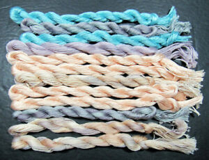 12xNeedlepoint/Embroidery THREAD Hand-dyed Cotton 6 ply Floss-mixed-TX211
