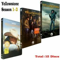 Brand New Yellowstone: Season  1-3 (DVD 2020, 12-Disc Set) USPS Deliver