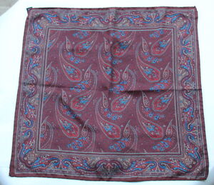 "Estate- ETRO Iconic Paisley Rich Deep Maroon Pocket Square Handkerchief 17"""