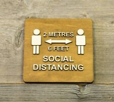 Social Distancing Sign. Door or Wall Wood Sign. Sticker. Safety sign.