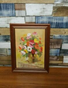 """Framed Vintage Joyce Dowdall Floral Bright Oil Painting 17"""" X 13"""""""